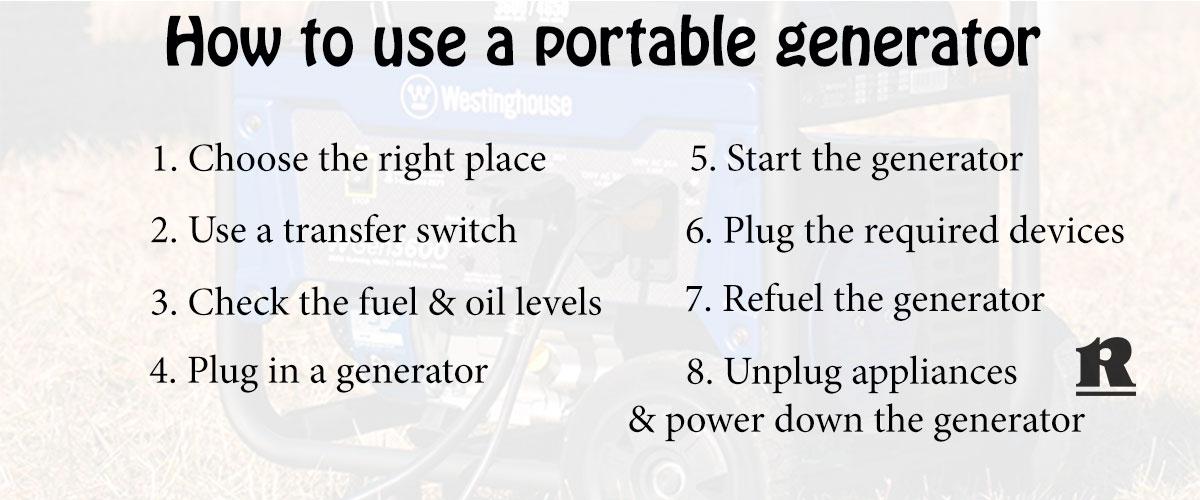 use a portable generator